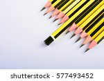 back of yelow pencil leading... | Shutterstock . vector #577493452