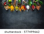 various herbs and spices on... | Shutterstock . vector #577499662