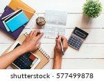 accountant verify the saving... | Shutterstock . vector #577499878