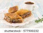 turkish baklava dessert and... | Shutterstock . vector #577500232