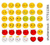 emotional faces smiles big set. ... | Shutterstock .eps vector #577511386