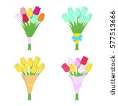 Set Of Tulip Flowers Bouquets...