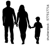 silhouette of happy family on a ... | Shutterstock .eps vector #577517716
