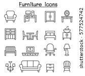 Basic Furniture icon set in thin line style