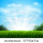 spring on the fresh green glade ... | Shutterstock .eps vector #577526716