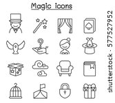 magic icon set in thin line... | Shutterstock .eps vector #577527952