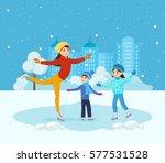 kids favorite winter activities.... | Shutterstock .eps vector #577531528