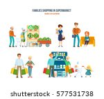 families shopping in... | Shutterstock .eps vector #577531738
