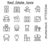 real estate icon set in thin... | Shutterstock .eps vector #577535266