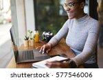 portrait of smiling female ceo... | Shutterstock . vector #577546006