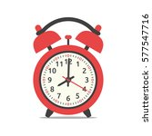red alarm clock showing eight o'... | Shutterstock . vector #577547716