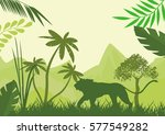 silhouette of green lion and... | Shutterstock .eps vector #577549282