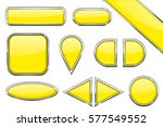 set of yellow glass buttons... | Shutterstock .eps vector #577549552