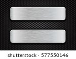 metal brushed plates on iron... | Shutterstock .eps vector #577550146