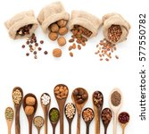 different kind of beans and... | Shutterstock . vector #577550782