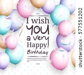 happy birthday greeting card.... | Shutterstock .eps vector #577551202