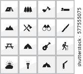 set of 16 editable travel icons.... | Shutterstock .eps vector #577555075
