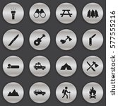 set of 16 editable travel icons.... | Shutterstock .eps vector #577555216