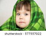 funny child portrait in blanket ... | Shutterstock . vector #577557022