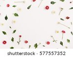 frame wreath with red and white ... | Shutterstock . vector #577557352