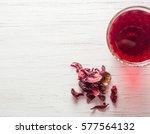 hibiscus tea in a glass mug on... | Shutterstock . vector #577564132