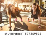 sporty women working out... | Shutterstock . vector #577569538