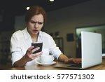 young female journalist...   Shutterstock . vector #577571302