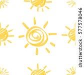 seamless pattern with sun hand... | Shutterstock .eps vector #577578046