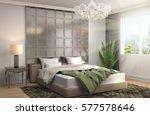 bedroom interior. 3d... | Shutterstock . vector #577578646