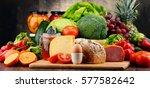variety of organic food... | Shutterstock . vector #577582642