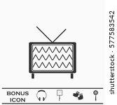 tv icon flat. black pictogram...