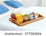 breakfast in bed in hotel room. ... | Shutterstock . vector #577583836