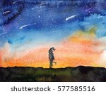 starry night view with couple ...   Shutterstock . vector #577585516