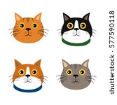 set of cute cats icons  vector... | Shutterstock .eps vector #577590118