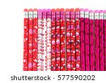 colorful pencils isolated on... | Shutterstock . vector #577590202