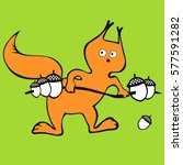 squirrel raises the rod. can be ... | Shutterstock .eps vector #577591282