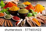 variety of spices and herbs on... | Shutterstock . vector #577601422