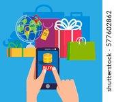 on line shopping e commerce 24... | Shutterstock .eps vector #577602862