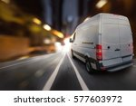 delivery van at night in a city | Shutterstock . vector #577603972