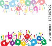 greeting card with colored... | Shutterstock .eps vector #577607602