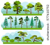set of different trees and...