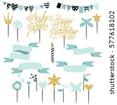 set of decoration  toppers ... | Shutterstock .eps vector #577618102