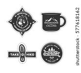 set of hiking labels with... | Shutterstock .eps vector #577618162