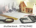 house model with calculator and ... | Shutterstock . vector #577619482