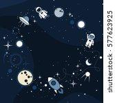 vector flat cosmos design... | Shutterstock .eps vector #577623925