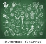 doodle fruits and vegetables on ... | Shutterstock .eps vector #577624498