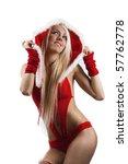 happy cute girl in santa claus... | Shutterstock . vector #57762778