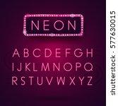glowing neon alphabet. font...   Shutterstock .eps vector #577630015