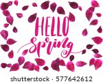 phrase hello spring. brush pen... | Shutterstock .eps vector #577642612