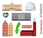 sweden stockholm travel set... | Shutterstock .eps vector #577650145